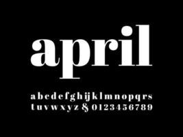 police de caractères minuscules serif moderne avril vecteur
