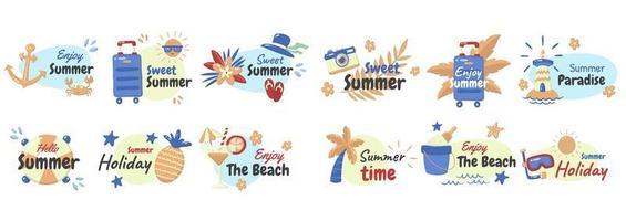 ensemble d'éléments et de phrases d'été de style dessin animé