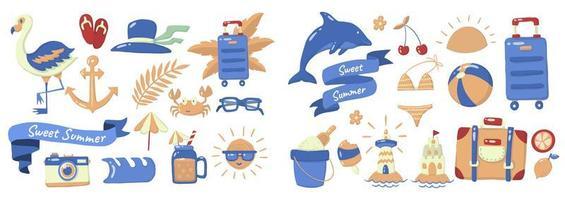 ensemble d'éléments d'été de style dessin animé vecteur
