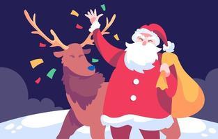 le père noël apporte des cadeaux avec son renne vecteur
