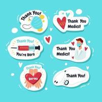 Merci les collections d'autocollants des chefs de file des médecins vecteur