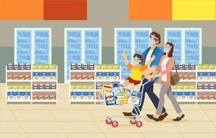épicerie en famille vecteur