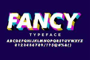 alphabet pop art extrudé à rayures colorées vecteur