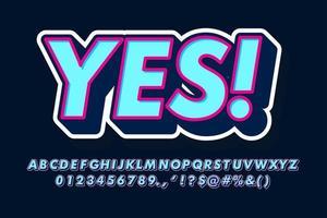 style alphabet 3d bleu et rose vecteur