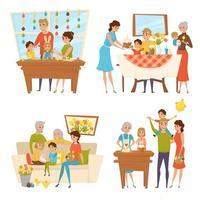 famille célébrant le jeu de pâques vecteur