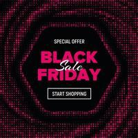 bannière de vente vendredi noir hexagone en pointillé rose