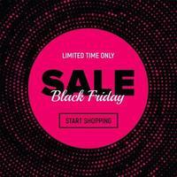 bannière de vente vendredi noir en pointillé rose