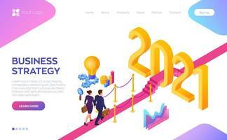 stratégie commerciale pour la bannière de la page d'accueil 2021 vecteur