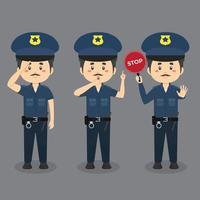 personnages masculins de la police faisant diverses activités vecteur