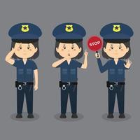 personnages féminins de la police faisant diverses activités vecteur