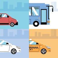 différents véhicules de transport, transport urbain