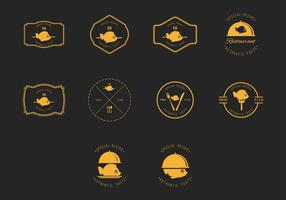 Fry Badge Fish and label Vector Set