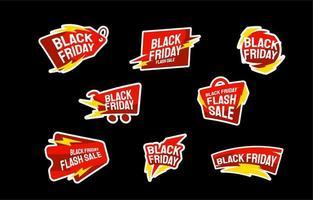autocollant de vente flash vendredi noir vecteur