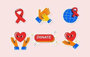 bénévoles, aidant, mains, autocollant, icône vecteur