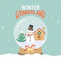 pays des merveilles d'hiver dans une boule à neige vecteur