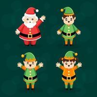 collection de personnages de santa et elf vecteur