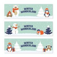 bonhomme de neige animaux mignons aiment vivre au pays des merveilles d'hiver vecteur