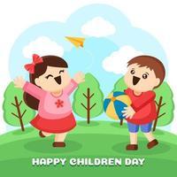 des enfants joyeux jouent ensemble dans le parc vecteur