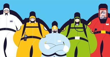 hommes en tenue de protection, vêtements de sécurité