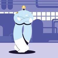 homme en tenue de protection, industrie chimique