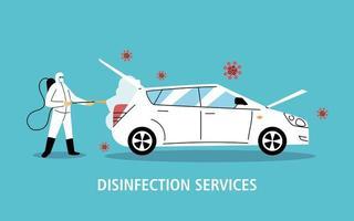 désinfection de la voiture de service par coronavirus ou covid 19