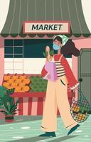 une fille marche du supermarché avec des courses vecteur