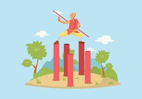 Free Man Pratiquer Wushu Illustration vecteur