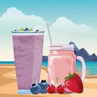 composition de boisson smoothie à l'extérieur