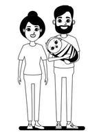 couple de dessin animé avec bébé dessin au trait