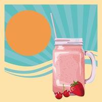 fruits tropicaux et smoothie boivent design rétro