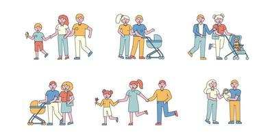 ensemble de design plat de temps en famille