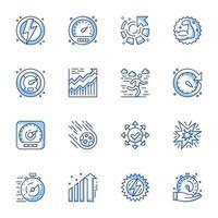 jeu d'icônes de ligne-art de gestion du temps