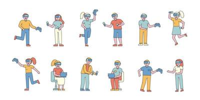 personnes jouant avec un ensemble de conception plate de réalité virtuelle vecteur