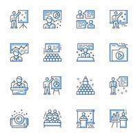 jeu d'icônes de ligne-art conférence d'affaires