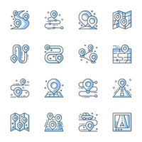 navigateur gps et jeu d'icônes de ligne de localisation vecteur