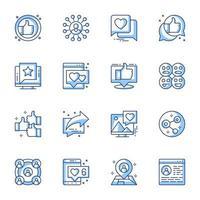 jeu d'icônes d'art en ligne de médias sociaux vecteur