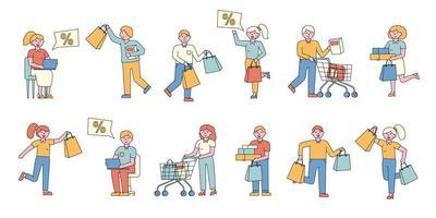 personnes shopping ensemble design plat vecteur