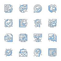 jeu d'icônes de certificat ligne-art vecteur