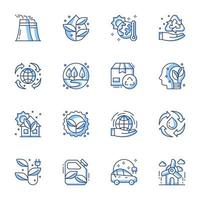 jeu d'icônes d'art en ligne d'énergie durable vecteur
