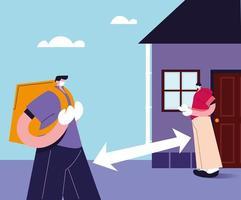 le service de messagerie laisse le colis à distance de sécurité vecteur