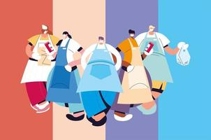 groupe de serveurs avec masque facial et uniforme vecteur