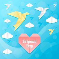 beau ciel bleu avec des oiseaux et des nuages en origami vecteur