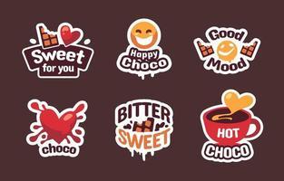 autocollant d'amour de jour de chocolat vecteur