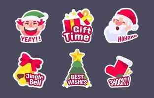 pack d'autocollants festifs de Noël vecteur