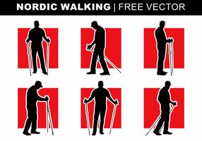 Silhouettes de marche nordique vecteur libre