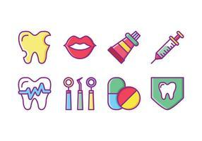Dentiste gratuit Icon Set vecteur