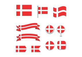 Ensemble de drapeaux danois vecteur