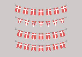 Guirlandes de drapeaux danois vecteur