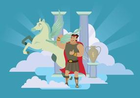 Hercules gratuit et Pegasus dans le ciel Illustration vecteur