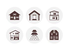 Silhouette Maisons icônes vectorielles